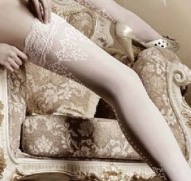 Bridal White Lace Top Hold-ups with Seams, Ballerina 003